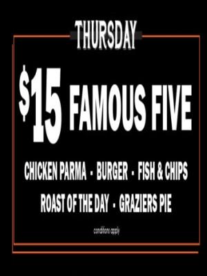 Thursday $15 Famous Five