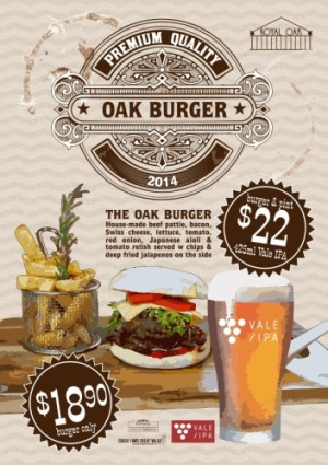 Oak Burger with 425ml pint of McLaren Vale IPA