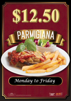 Weekday $12.50 Pot & Parma