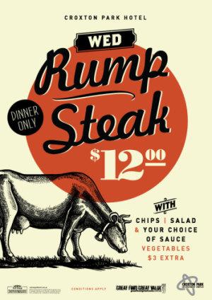 Wednesday $12 Rump Steak Night