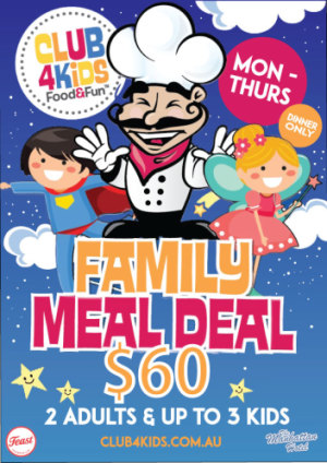 Monday to Thursday $60 Family Meal Deal