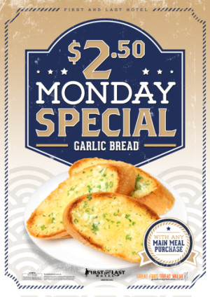 Mondays $2.50 Garlic Bread
