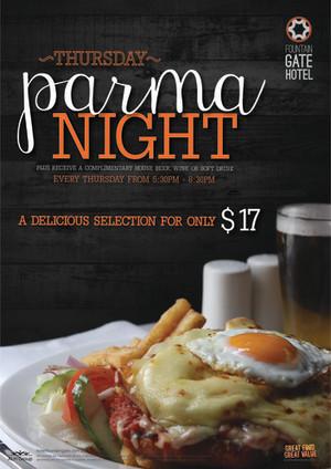 Thursday $17 Parma Night