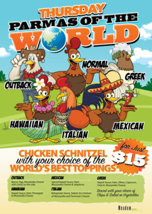 Thursday $15 Parmas of the World