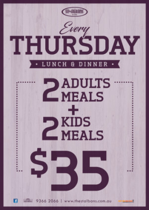 Thursday 2 Adults + 2 Kids for $35
