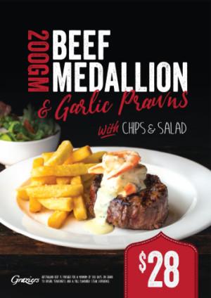 Beef Medallion & Garlic Prawns $28