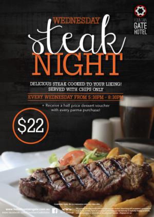 Wednesday $22 Steak Night